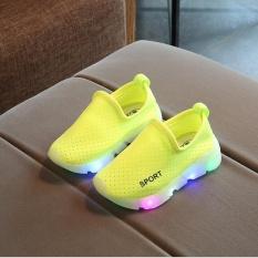 Kid's Girl's Boy Child's Slip-On LED Lights Up Breathable Casual Running Sport Shoes I122 Green - intl