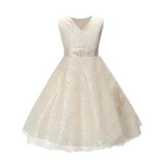 Kids Girls Sleeveless Tutu Dress Prom Party Gown Birthday Princess Dresses with Belt - intl