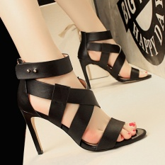 KOKO Fashion Hollow Heeled Sandals Sexy Cross-Strap High Heels Sandals Women Round Toe Stiletto High-Heeled Shoes Peep Toe Party Women Shoes Ankle Strap Sandals (Black)