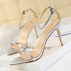 KOKO Patent Leather High Heels Sandals Women Sexy Peep Toe Heeled Sandals Round Toe Stiletto Party Women Shoes Ankle Strap Wedding High-Heeled Shoes (Silver)