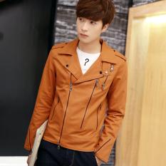 Korea Fashion Style baru musim semi dan musim gugur Slim dan musim gugur jaket jaket pria (Oranye)