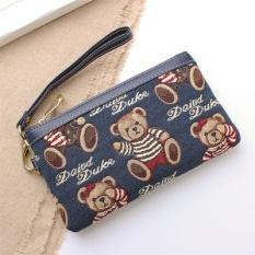 Korea Fashion Style kanvas wanita Beruang Clutch tas dompet (Bendera biru)