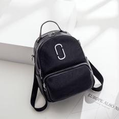 Korea Fashion Style kulit lembut perempuan baru Shinebager tas ransel (Hitam )
