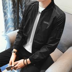 Korea Fashion Style laki-laki mahasiswa Musim Semi dan Gugur jeket pria baru jas (Hitam)