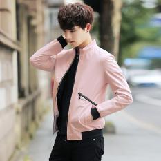 Korea Fashion Style laki-laki musim semi dan musim gugur baru mantel Slim jaket (Merah)