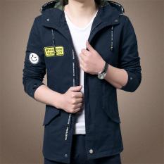 Korea Fashion Style musim semi baru Slim bagian tipis jaket jaket pria (Biru tua)