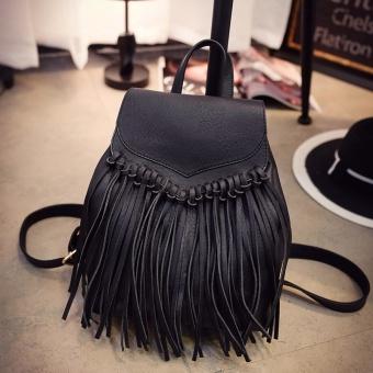 Korea Fashion Style rumbai perempuan kasual tas wanita tas ransel (Hitam) ( Hitam)
