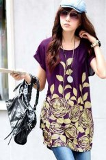 Korean Fashion Women's Short Sleeve Casual Floral Printed Long T-shirts Purple / Yellow