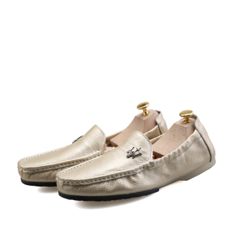 Korean male version of casual shoes, ultra-fiber leather shoes Peas (Gold)