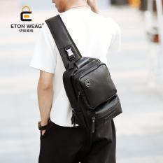 Korean New Men Big Chest Bag Old School Fashion Men Single Shoulder Bag Men Crossbody Bag Sling Bag IpadBag -Black