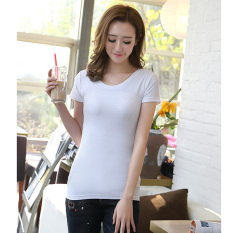 Korean Slim O-neck T Shirts Solid Color Tops Short Sleeve Women's T-shirt (White) (INTL)