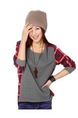 Korean Style Plaid Checks Print Casual Long Sleeve T Shirt (Red)