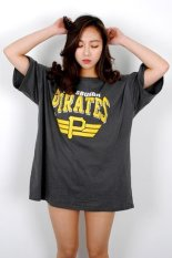 Korean Style Printing Women Box T-shirt (Charcoal) (Intl)