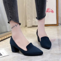 Korean-style suede gray spring and autumn thick with shoes (Biru-model telanjang)