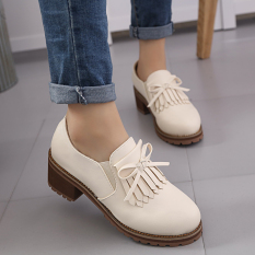 Korean-style tassled high-heeled round small leather shoes women's shoes (Beige)