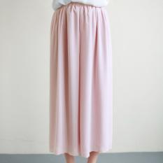 Korean Version Double-layer Chiffon High Waist Wide Leg Pants (Pink)