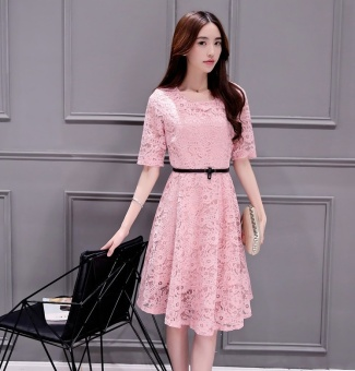 Korean version women lace, grounding dress, self-cultivation A skirt Midi Dress Plus Size - intl