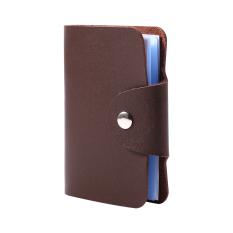 Kulit PU pemegang kartu kasus saku tas dompet pelindung untuk 24 diterima (coklat) - International