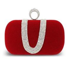 KUNPENG Red Evening Bag Rhinestone Clutch Ring Bridal Party Handbag Shoulder Chain - Intl