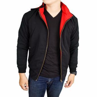 L_S fashion pria jaket DC parasut bolak-balik hitam-merah keren.