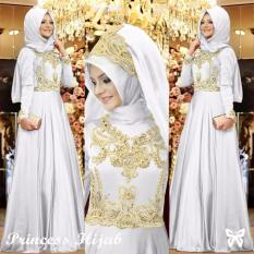 Ladies Fashion Store Dress Princess Syahrini Muslim / Kebaya / Syari/ Hijab SS - Putih