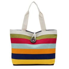 Lady Colored Stripes Shopping Handbag Shoulder Canvas Bag Tote Purse Red