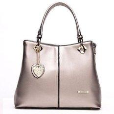Lady's Fashion Tote Handbag PU Leather Lady's Handbag Sling Shoulder Bag Gold