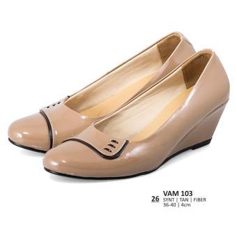 Lagenza Sepatu kerja elegan wanita kasual formal fiber in tan mid heels lze026