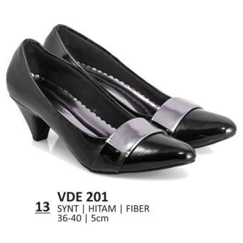 Lagenza Sepatu kerja elegan wanita kasual formal kulit sintetik black low-mid heels lze0