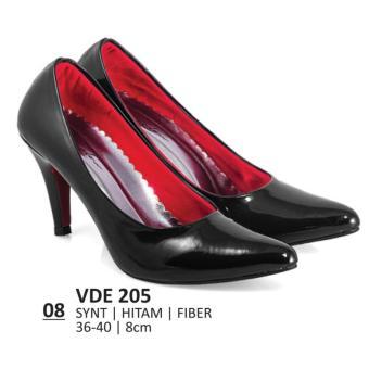 Lagenza Sepatu kerja wanita kasual formal synthetic leather black mid-high heels lze008