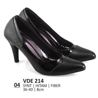 Lagenza Sepatu kerja wanita kasual formal synthetic leather black mid-high heels lze004
