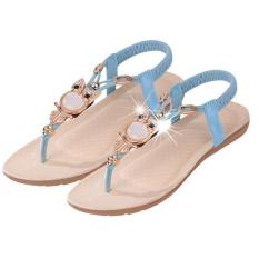 LALANG Fashion High Quality Flat Plus Size Sandals Women Shoes Comfort Rhinestone Flip-flops Blue (Intl)