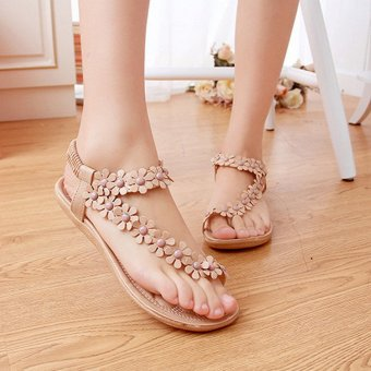 LALANG Hot Sales Summer Women Sandals Bohemia Flower Casual Toepost Flats Shoes Apricot
