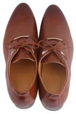 LALANG Men PU Leather Lace Up Cap-Toe Business Casual Shoes Brown