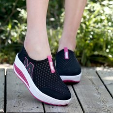 LALANG New Height Increasing Shoes Casual Women Swing Breathable Wedges Shoes Black