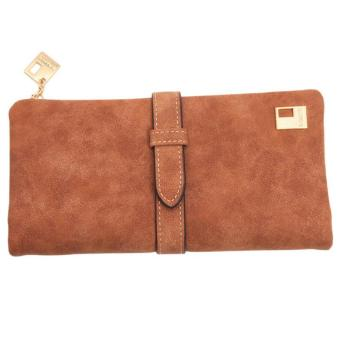 LALANG New Women Wallets Drawstring PU Leather Zipper Two Fold Long Design Purse (Khaki)