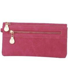 LALANG Vintage Unisex Wallets Dull Polish Long Wallet Purse Wristlet Handbags (Hotpink)
