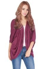 LALANG Women Batwing Sleeve Cardigan Jacket Casual Coat Tops Wine Red