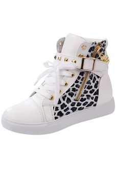 LALANG Women High Cut Sneakers Leopard Casual White