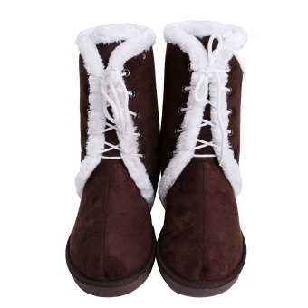 LALANG Women Snow Boots Lamb Hair Mid Tube Trimmed Family Shoes (Coffee) - intl