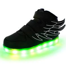 Lampu LED her Sneakers Indah gadis Anak laki-laki Sayap/lampu LED cantik Sepatu Anak perempuan Sepatu Anak buah Sayap hitam