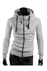 Large Size Mens Fashion Hooded Sweatshirts Jacket Hedging Sport Coat Light Grey