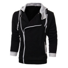 Large Size Mens Sports Sweater Zipper Jacket Hoodie Sweatshirts Black