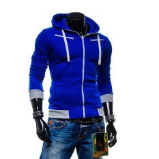Large Size Mens Sweatshirts Jacket Sports Coat Zipper Blue - Intl