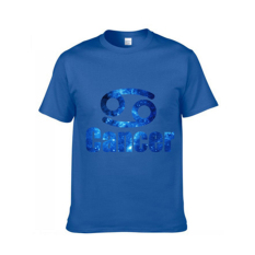 Latest Version 12 Constellations Short-sleeved T-shirt Pure Cotton Cancer Blue XXXL - Intl