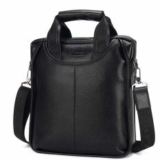 Leather Briefcase Messenger Shoulder Cross-body IPad Business Bag For Men (Black) - Intl