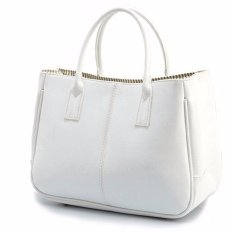 leather candy-colored shoulder bag-white - Intl