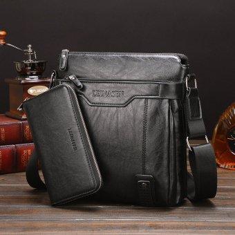 Leather Handbag High Quality Crossbody Bag Satchel Bag Vertical Section Male Korean Leisure Calfskin Business Messenger Bag (Black / 1 Wallet Inside)