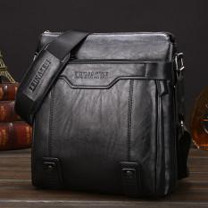Leather Handbag High Quality Crossbody Bag Satchel Bag Vertical Section Male Korean Leisure Calfskin Business Messenger Bag (Black / No Wallet)