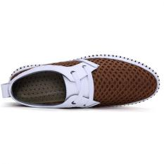 Leather Mesh Breathable Shoes Mesh Shoes Soft Soled Shoes (Brown) - Intl